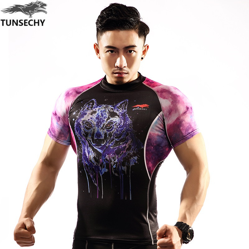 NEW Mens Compression Shirts Bodybuilding Skin Tight Short Sleeve Jerseys TUNSECHY brand Crossfit Outdoor sports bike t Shirt 110