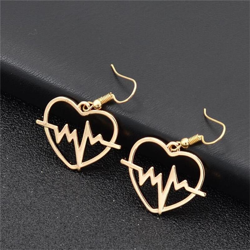 2018 Trendry Earrings for Women 's Heart shaped electrocardiogram Earrings Ear Studs Jewelry Ornament Jewelry Brincos J05#N (1)
