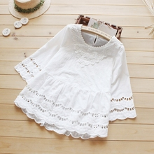 Women Sweet Casual Hollow Out Three Quarter Sleeved Crochet Lace Cotton White Female Princess Tops Shirt Blouses Mori Girl U473(China)