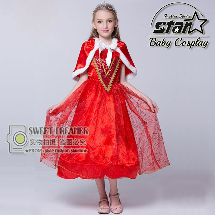 Top Quality Girls 3-12T Halloween Little Red Riding Hood Costume Masquerade Cosplay Dress With Red Cloak Christmas Party Dresses<br>