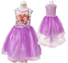 Hots!! 3-10T Girls Sofia Princess Dress For Summer Party,Baby Girls Wedding Party Dresses,Children Fashion Clothes pink / purple