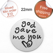 new arrival 22mm 316L Stainless Steel floating charms God gave me you heart floating plates for Lockets(China)