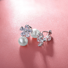 perfect fashion high quality Micro CZ zircon Flowers show off pearl personality clip earrings For women jewelry