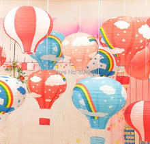 Free Shipping Hot Sale12'' 30cm Wedding Party Baby Shower Decoration Rainbow Hot Air Balloon Paper Lantern