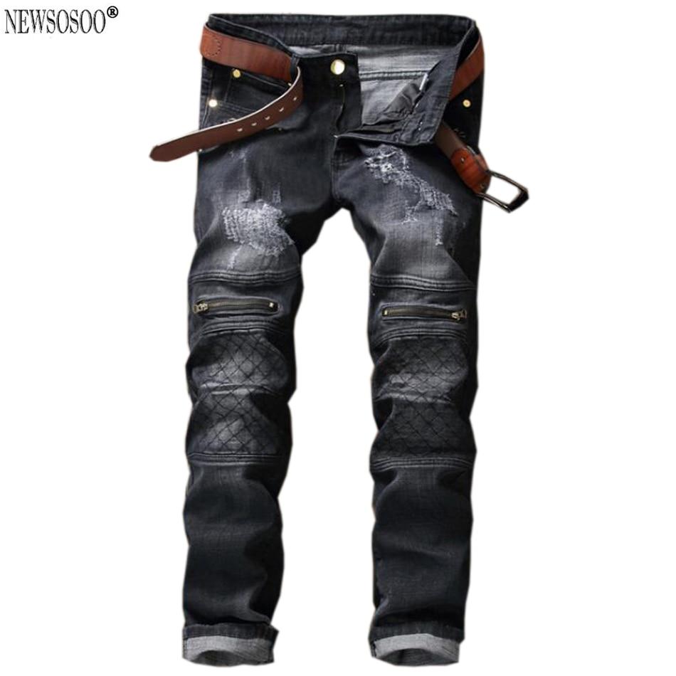 Newsosoo brand High quality mens jeans Casual straight gray black hole balmans men jeans men denim trousers biker MJ27Îäåæäà è àêñåññóàðû<br><br>