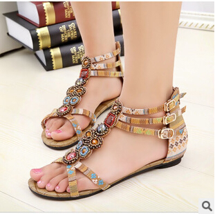 SUMMER STYLE Free shipping 2015 Flat Sandals Ankle T-strap Fashion Trend Sandals Bohemia Nation Flat Beaded sandals Hot sale<br><br>Aliexpress