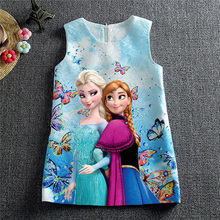 Christmas Anna Elsa Dress Robe Fille Enfant Dobby 100% Cotton Linning Butterfly Print Children Dress Elsa Costume Girls Dress