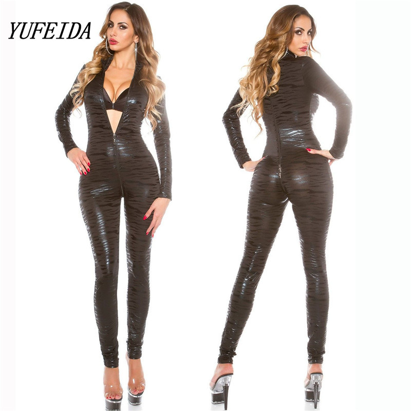 Lady Sexy Faux Leather Latex Zentai Catsuit Smooth Wetlook Jumpsuit Front Zipper Elastic Black PU Leopard Bodysuit Slim Clubwear