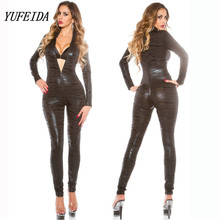 Buy Lady Sexy Faux Leather Latex Zentai Catsuit Smooth Wetlook Jumpsuit Front Zipper Elastic Black PU Leopard Bodysuit Slim Clubwear