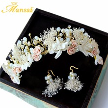 Sweet Handmade Dry Flower Headband for Women Crystal Floral Crown and Earring Girls Brithday Party Prom Hair Jewelry Accessories