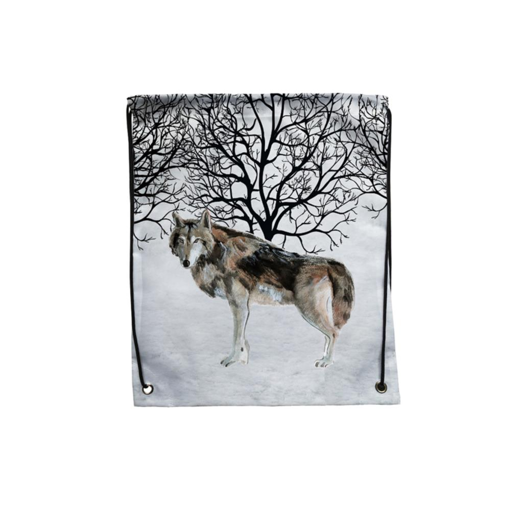 Pack Of 4 Winter Snow Forest Watercolor Wolf Print Custom Individual Outdoor Gym Swimming Shoe Storage Bag Drawstring Backpack(China)