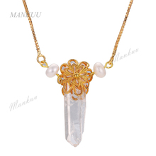 Clear Crystal Point Quartz Pendant Necklace Pearls Flower Metal Copper Golds Plated Sweater Chain Necklace Statement Bijoux Gift(China)