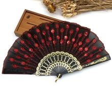 Chinese Folding Peacock Pearl Fabric Color Decoration Fan Hand Embroidered Flower Pattern Fabric Folding Fan Black