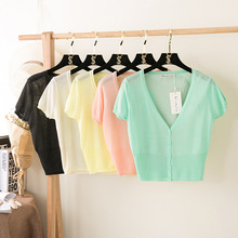 12 colors! Women's V-neck knitted short sleeve cardigans sweater ladies' sun protect knit Cardigan knitting sweater knitwear
