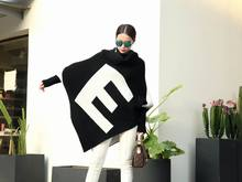 2016 Winter Ladies Christmas Sweater Turtle-Neck Long Batwing Sleeve Letter Printed Triangle Bottom Pulover Women Sweaters T1610