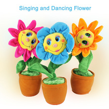 Freeshipping 2016 Stuffed Creative Toys Singing and Dancing Sunflower Soft Plush Funny Toys Gift for Kids Children Birthday(China)
