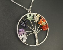 1pc Natural Stone Tree of Life Pendant Necklace Chakra Yoga DIY Handmade Jewelry Gifts E539