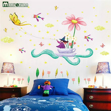 New Child Cartoon Witch Butterfly Small Fresh Wall Sticker Sofa Desk Background Decorative Painting Wall Sticker(China)