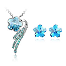 Star Jewelry New Fashion Necklaces For Women 2015 Alloy Metal Jewerly Sets Flower Crystal Stud Earring(China)