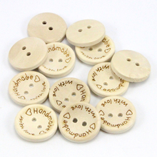 Lucia Crafts 2-Holes Handmade with love Buttons Scrapbooking Sewing Button Natural Wood 004010039