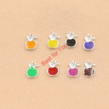 8pcs Mixed Silver Plated Enamel Crystal Apple Fruit Charms Pendants Jewelry Diy Craft Colorful 13x10mm