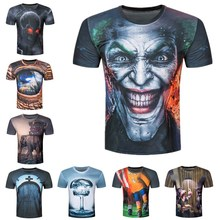 Creative Male 2017 Funny Skull Joker 3D Print T Shirt Summer Short Sleeves Harajuku Tops T-shirt Men Brand Clothing Tshirt Homme