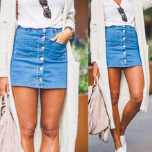 Buy Women Denim High Waist Skirt Bodycon Blue Slim Button Pencil Short Mini Skirts Mini Jeans Skirt Female Sexy Pencil Skirt for $13.05 in AliExpress store