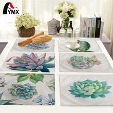 Simple Plants Pattern Table Mat Kitchen Decoration Placemat Table Napkin For Wedding Dining Accessories Table Mat(China)