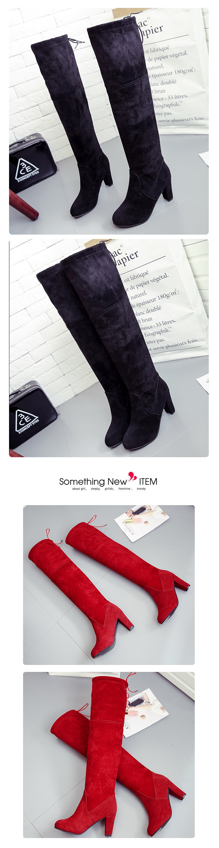 Big size European American stars in spring autumn winter wear the same boots with thin knees and thick heel winter boots women 12