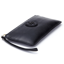 Genuine Cow Leather Women Wallet Zipper Long Coin Purse Fashion Brand Designer Card Holder Cell Phone Money Bag(China)