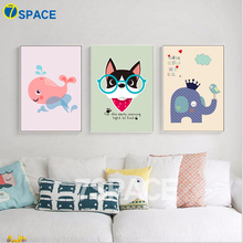 7-Space Modern Kawaii Animals Baby Life Quotes Canvas Painting Nursery Art Print Poster Wall Pictures For Kids Girl Room Decor