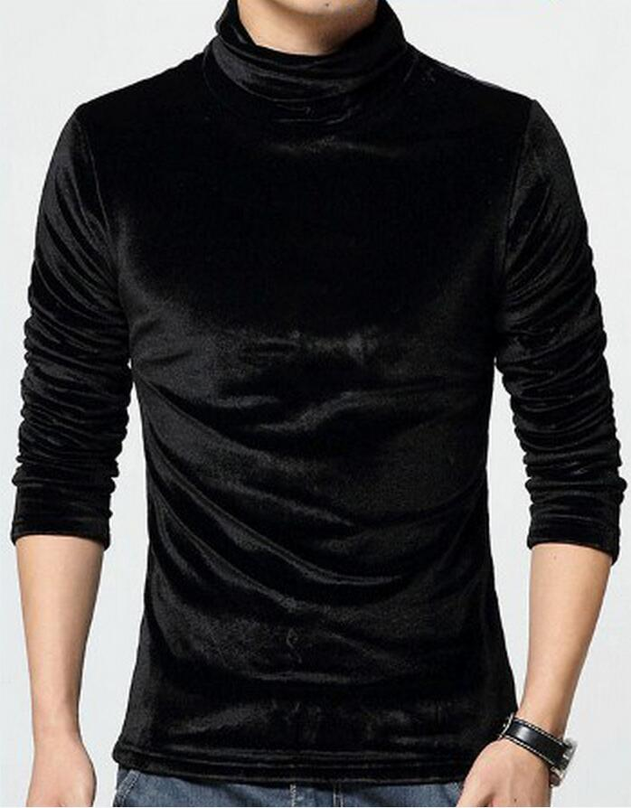 S-10XL ! 2016 Men's clothing New arriva gold velvet plus size slim male turtleneck t-shirt basic shirt singer costumes