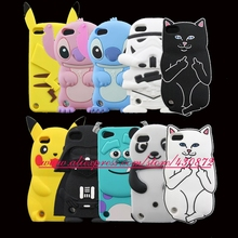 Hot Selling 3D Silicon RIPNDIP Pocket Cat Stitch Sulley Cartoon Silicone Back Case Cover Skin for iPod Touch 5 Touch 6