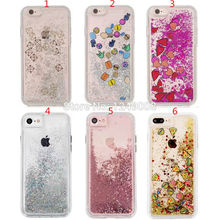 For iPhone 8 6 6S 7 Plus Fries Hamburg Emoji Tetris Siliver Rose Gold Heart Beads Glitter Liquid Dynamic Soft TPU Cover Case