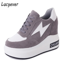 Lucyever Women Shoes Spring Autumn High-top Height Increasing Comfortable Casual Shoes Woman Lace up Wedges Platform Sneaker(China)