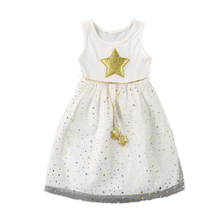 Toddler Kids Baby Girls Star Sleeveless Princess Dress Star Pentagram Mesh Layered Bridesmaid Party Pageant Tutu Dress