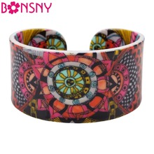 Bonsny Ethnic Special Pattern Love Wide Bracelets Bangles Fashion Jewelry For Women News 2017 Summer Spring Bijoux Accessories(China)