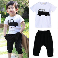 2016summer children car clothing boys baby child short-sleeve T-shirt + capris set New