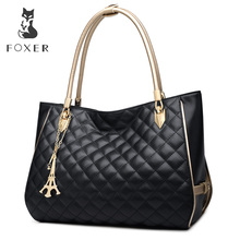 FOXER Brands New Luxury Handbags Women Soft Cowhide Leather Shoulder Bag For Female Casual Fashion Lingge Tote Crossbody Bag(China)