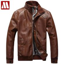 2017 New Fashion Male Leather Jacket Plus Size XXXL 4XL 5XL Black Brown Mens Mandarin Collar PU Coats Leather Biker Jackets F091(China)