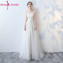 Buy Beauty-Emily White Wedding Dresses 2017 New Sexy Scoop Tulle Appliques Beach Bride Dress Long Ivory Wedding Gowns Custom made for $84.00 in AliExpress store