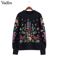 Women vintage flower embroidery sweaters long lantern sleeve o neck black pullovers winter autumn retro loose tops SW1202