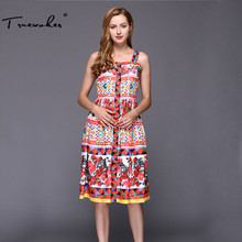 Truevoker Designer Dress Women's High Quality Elegant Fancy Flower Printed Daisy Crystal Button Spaghetti Strap Dress