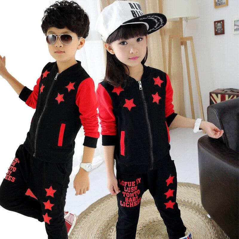 2017 Autumn Boys /Girls Clothes Boys Sprot Suit Star Coat Pants 2pcs Children Girls Clothing Set 3-15 T Kids Clothes Tracksuit<br><br>Aliexpress