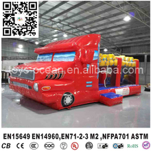 commercial quality for rental inflatable red fire truck bouncer castle for sale