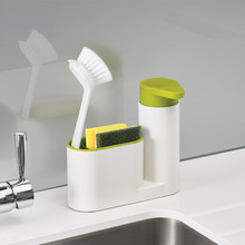 Multifuction Useful Kitchen Liquid Detergent Storage Box With Brush Rack Tank Cleaning Sponge Drainboard Soap Holder