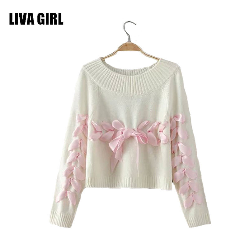 LIVA GIRL Women Bow Ribbon Sweater Young Woman Loose Soft Knitting Sweaters Jumpers Teenager Lady Christma Sweater Clothes B05(China (Mainland))
