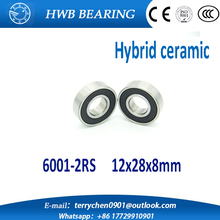 free shipping 6001-2RS 6001RS 6001 RS 12*28*8mm hybrid ceramic ball deep groove ball bearing 12x28x8mm for bicycle part