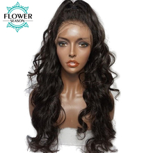 FlowerSeason Wavy Brazilian Full Lace Human Hair Wigs With Baby Hair Remy Hair Glueless Pre Plucked Lace Wig Bleached Knots(China)