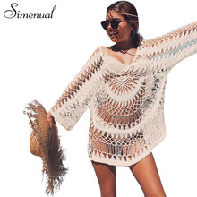 Simenual Oversize handmade crochet boho summer dress lace hollow out vestidos loose beach dresses for women swimsuit outputs hot